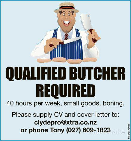 QUALIFIED BUTCHER REQUIRED on handshake