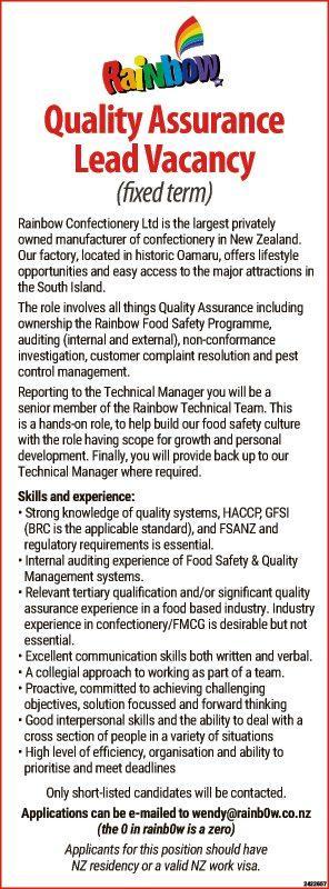 Quality Assurance Lead Vacancy