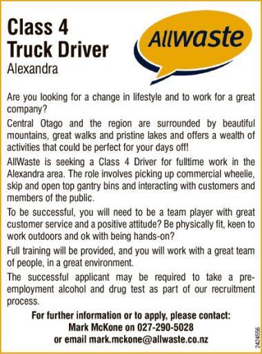 Class 4 Truck Driver Alexandra