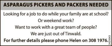 ASPARAGUS PICKERS AND PACKERS NEEDED