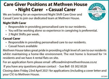 Care Giver Positions at Methven House