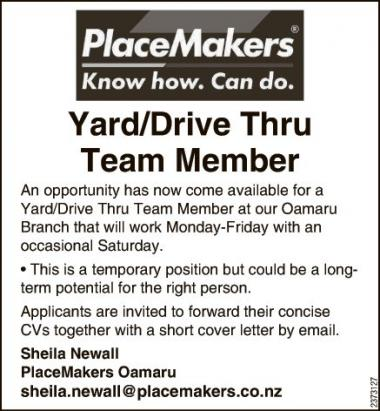 Yard/Drive Thru Team Member in Otago
