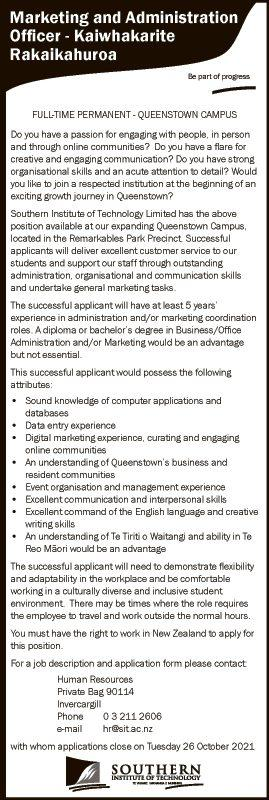 Marketing and Administration Officer