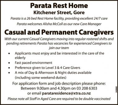 Casual and Permanent Caregivers