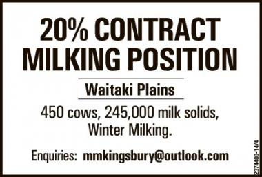 20% CONTRACT MILKING POSITION