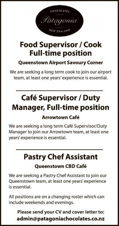 Food Supervisor / Cook - Mountain Scene