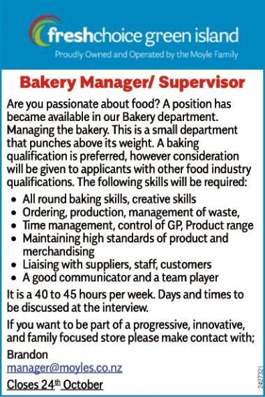 Bakery Manager/Supervisor