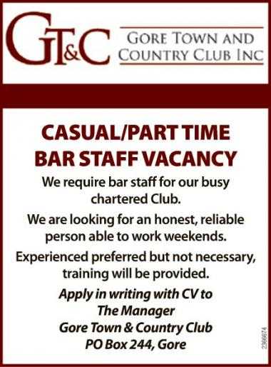 CASUAL/PART TIME BAR STAFF VACANCY