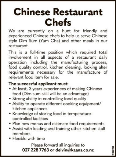 Chinese Restaurant Chefs
