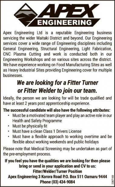 Fitter Turner or Fitter Welder