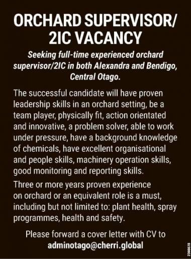 ORCHARD SUPERVISOR/2IC VACANCY