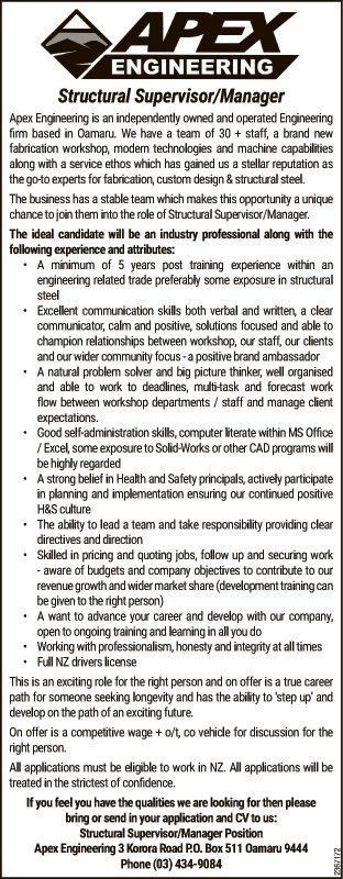 Structural Supervisor/Manager
