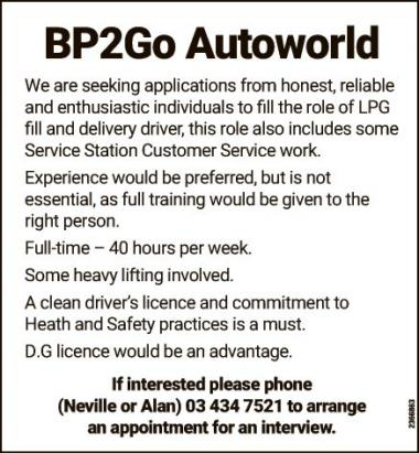 LPG fill and Delivery Driver in Otago