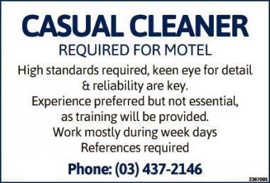 CASUAL CLEANER REQUIRED FOR MOTEL in Otago