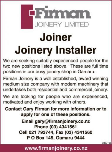 Joiner/Joinery Installer in Otago