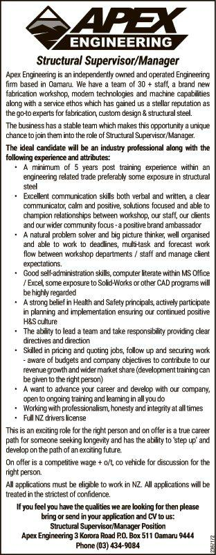 Structural Supervisor/Manager in Otago