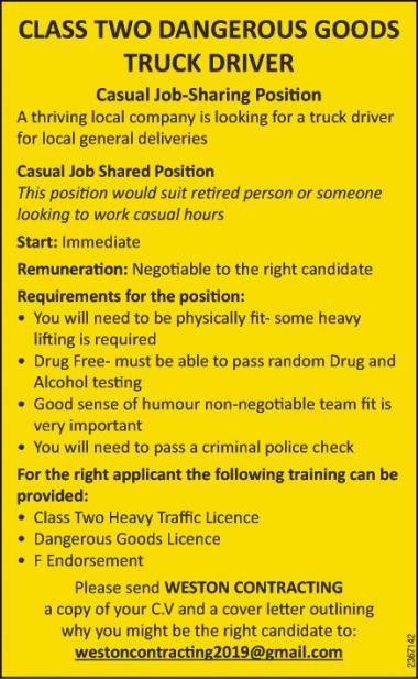 CLASS TWO DANGEROUS GOODS TRUCK DRIVER in Otago