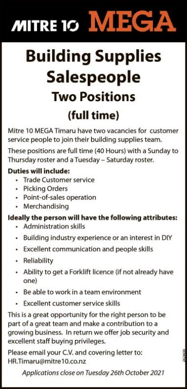 Building Supplies Salespeople