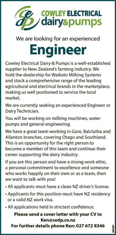 We are looking for an experienced  Engineer