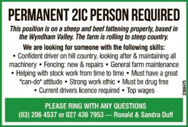 Permanent 2IC Person Required