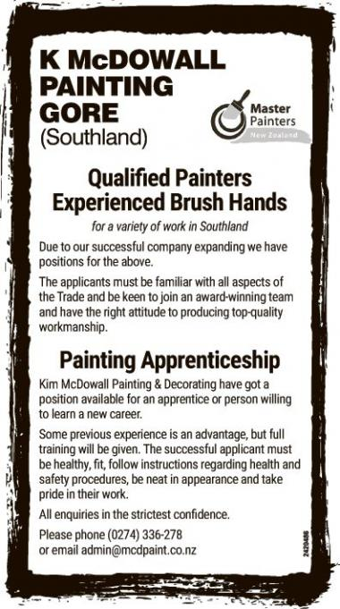 K McDOWALL PAINTING Employment Opportunities