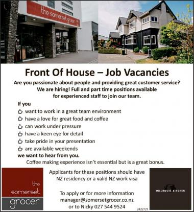 Front Of House – Job Vacancies