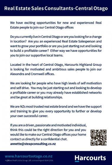 Real Estate Sales Consultants - Central Otago