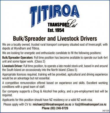 Bulk/Spreader and Livestock Drivers