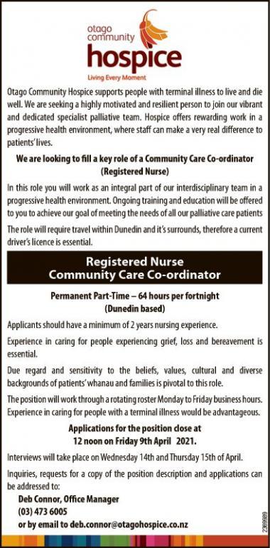 Registered Nurse Community Care Co-ordinator